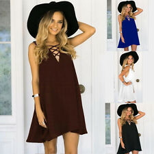 Plus Size Sexy Women Summer Bandage Chiffon Sleeveless V-Neck Casual Loose Dress