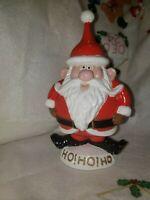 """CERAMIC SANTA VINTAGE 8 1/2"""" painted 1981 HO HO HO Christmas Rare Mold"""
