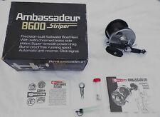 VINTAGE ABU GARCIA AMBASSADEUR 8600 STRIPER FISHING REEL W/BOX & INSTRUCTIONS!!!