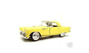 1955 FORD THUNDERBIRD YELLOW 1:18 DIECAST MODEL CAR BY ROAD SIGNATURE 92068