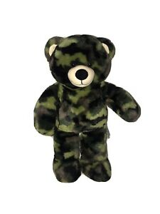 "Build-a-Bear Green Camo Camouflage Plush 16"" Green Stuffed Animal BABW 2010."