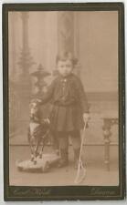 Kind mit Spielzeug, Schaukelpferd, uraltes Foto aus Dessau um 1900, CDV