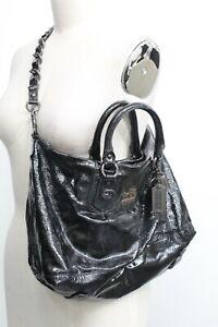 Coach F0837-12948 Black Patent Leather Satchel with Shoulder Strap