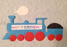 5 Trains train Thomas diecut Handmade mulberry paper baby boys birthday boy card