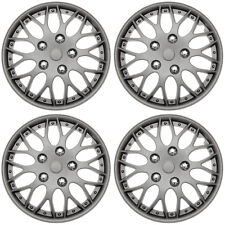 """4 Pc Set of 14"""" MATTE GUNMETAL Hub Caps Cover for OEM Steel Wheel Covers Cap"""