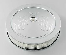 "14x3"" FLAMED CHROME ROUND AIR CLEANER FILTER CHEVROLET FORD EDELBROCK HOLLEY"