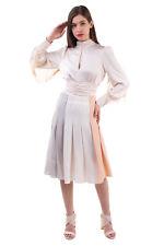 RRP €590 IRIS VON ARNIM Silk Crepe Flare Skirt Size 38 / M Colour Block Pleated