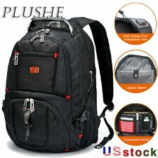 "Swiss Multifunctional Waterproof 17"" Laptop Backpack USB Charge Port Schoolbag"