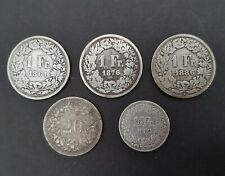 More details for 5 old swiss coins 1850 to 1882
