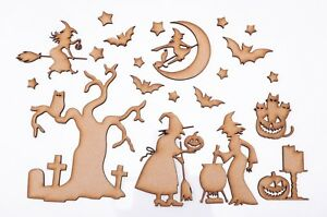 Halloween Wooden MDF Blank Shape - Halloween with Witches - set of 21 items