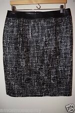 NEW Banana Republic Womens Faux Leather Coated Tweed Pencil Black Skirt 10 M $98