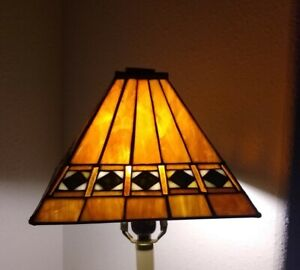 Vintage Stained Glass Lamp Shade  Mission ArtsCrafts Tiffany Style Square