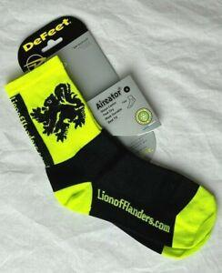 Lion of Flanders cycling socks Neon/Black - NEW Size S (Men 4.5-6.5  Women 6-8)