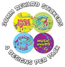 144 X MUSIC AWARDS 30mm Bambini Adesivi Ricompensa: scuole, l'apprendimento di incentivazione