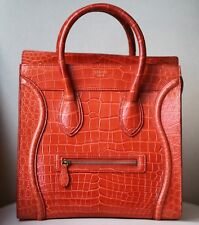CÉLINE ORANGE CROCODILE LUGGAGE BAG WITH GOLD H/W