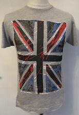 Unisex Grey Union Jack Print Crew Neck T-Shirt By Primark Size Small