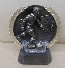male soccer trophy resin award self standing plate RFH 318