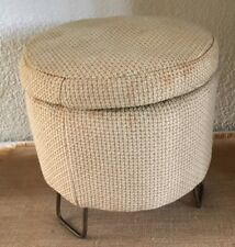 Vintage Mid Century Mini FOOT STOOL Iron Square Hairpin Legs Tuffet Ottoman