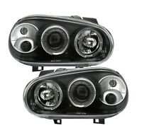 2 FEUX PHARE AVANT ANGEL EYES LED POUR VW GOLF 4 A FOND NOIR AVEC ANTIBROUILLARD