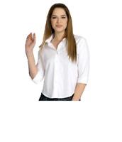 Camicia Donna Manica 3/4 Bianca Nera