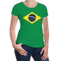 Damen Kurzarm Girlie T-Shirt Brazil Flag Full Size Brasil Fanshirt Trikot Flagge