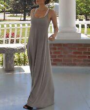 Maxi dress by Michael Lauren, beige mini-stripes, small