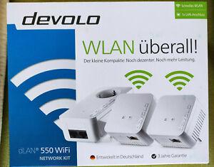 devolo dLAN 550 WiFi Network Kit WLAN 3x Adapter 500 Mbit/s WLAN Powerline Mesh