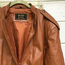 """WOMENS LIGHT BROWN 100% LEATHER JACKET GOLDEN STATE FASHIONS SIZE 11/12 CHEST40"""""""