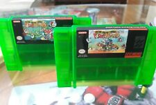 Super Nintendo SNES Yoshis Island 2+ and 2+2 Clear Green Set of Two Carts Only