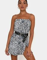 MOTEL ROCKS  Datista Slip Dress in Dalmatian Large L   (MR104)