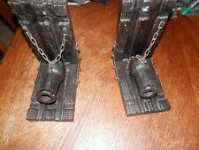 Vintage Cannon Wooden Bookends, Hand Carved, Made in Spain
