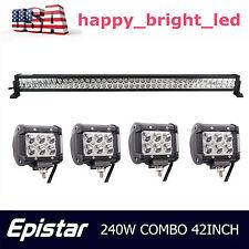 240W 42Inch Led Light Bar Jeep Combo + 2X 4'' 18W Spot Work Lamp Suv Truck Cree