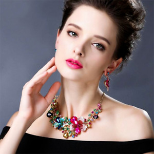 Women Bib Choker Chunk Crystal Pendant Statement Necklace Wedding Jewelry Set