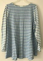 NEW J. JILL 1X 4X Shirt Top Knit Tunic Button Back 3/4 Tab-Slv Blue/White Stripe