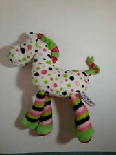 "Douglas Cuddle Toys Plush Horse. White, Green, Pink, Black Polka Dot, 9"" Long"