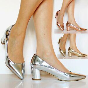 New Ladies Women Low Block Heel Party Bridal Slip On Court Shoes Pumps Size-6801
