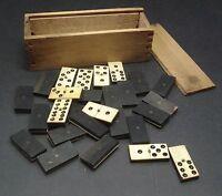 Antique Vintage Ebony & Bone Dominos - 30 - In Wooden Box Circa 1900's