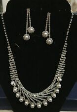New CZ And Pearl Necklace & Earring Set