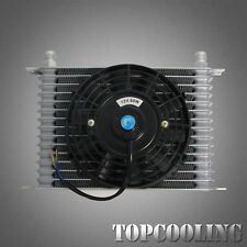 "15 Row AN10 Universal Engine Transmission Oil Cooler + 7"" 12V Electric Fan Kit"