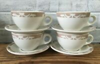 Set of 4 Vintage SYRACUSE CHINA Restaurant Ware Tan Nutmeg Cup & Saucers USA