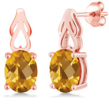 2.60 Ct Oval Checkerboard Yellow Citrine 18K Rose Gold Plated Silver Earrings