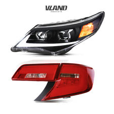 2 Pair LED Headlights& Tail Lights Red For Toyota Camry 2012-2014 Assembly