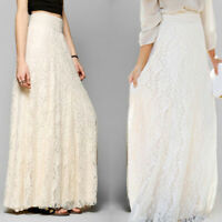 Women's Skirt Lace Boho Maxi Long Pleated Wedding Beach Dress Party