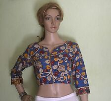 Kalamkari Readymade Saree cotton Blouse -  high round neck 38 to 40 inches Blue