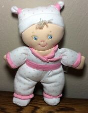 """Baby Gund Sound White Pink Polka Dots Plush Pigtails Doll Talking I Love You 7"""""""