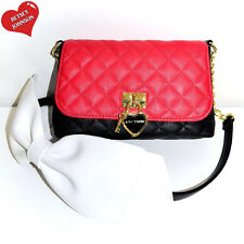 Betsey Johnson Handbag Black Red White Shoulder Bow Cross Body Satchel Purse NWT