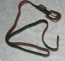 Vtg Leather Belt With Sterling Silver 10k Gold Belt Buckle And Gemstone
