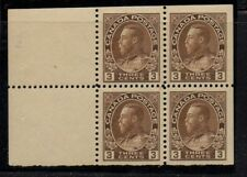 Canada Sc 108a 1918 3 c brn G V Admiral issue bklt pane of 4 mint Free Shipping
