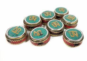 8 Tibetan Beads Inlaid Round Loose SALE WAS $18.00