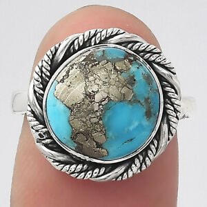 Kingman Turquoise With Pyrite 925 Sterling Silver Ring s.7 Jewelry E931